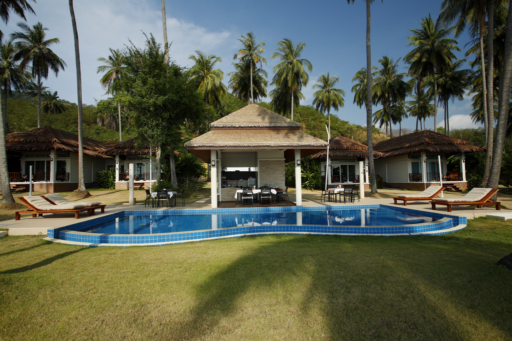 Pool area at the 2 bedroom Aircon deluxe Bungalow Villa